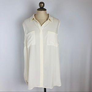 New cream pocket sleeveless tunic tank silky 16P